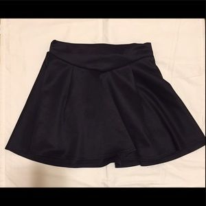 Black flared mini skirt